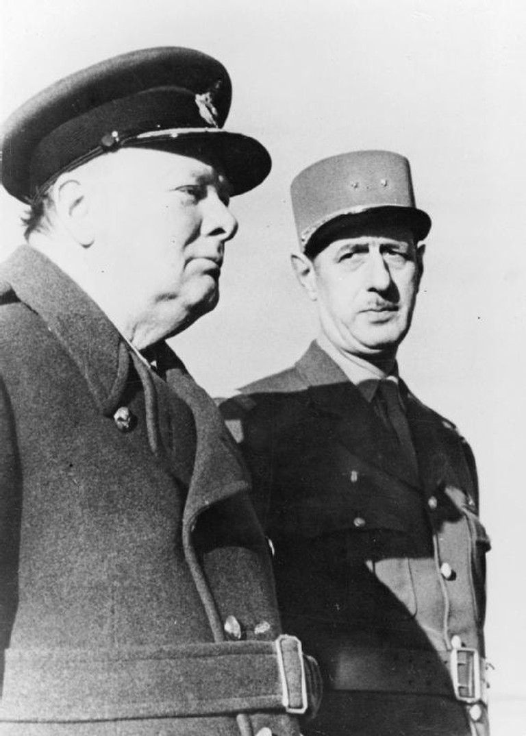 Charles de Gaulle with Winston Churchill in Morocco in 1944