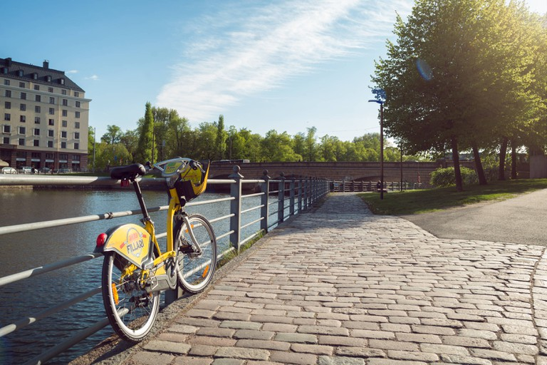 City Bikes in Helsinki can be searched by an app.