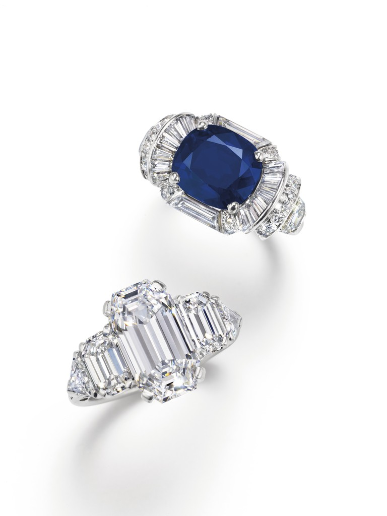 A sapphire and diamond ring set with an oval-cut sapphire and a cut-cornered rectangular step-cut diamond ring by Raymond Yard