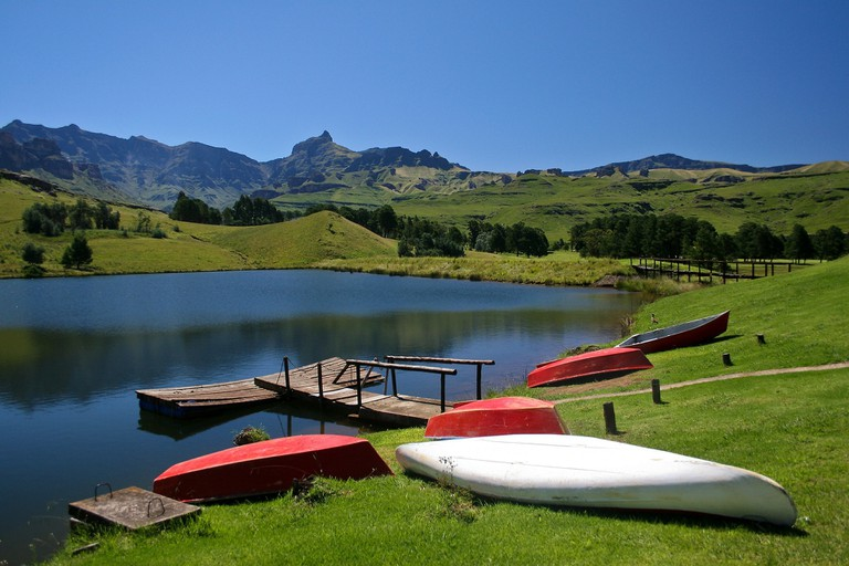 Tranquil lake in the Drakensberg Mountains