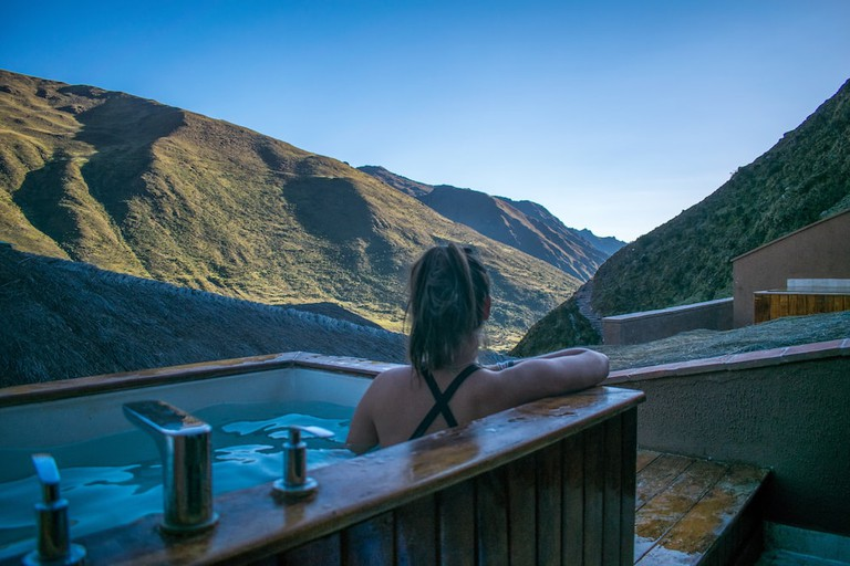 Private hot tubs at the Huacahuasi Lodge in the Lares region