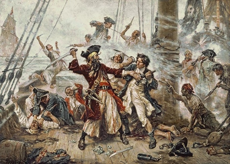 Blackbeard and Maynard, Final Battle, 1718 by Jean Leon Gerome Ferris, 1920