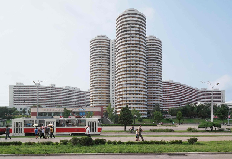 Cylindrical apartment towers for the Pyongyang elite