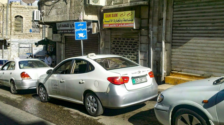 Service taxis lined up in Downtown Amman