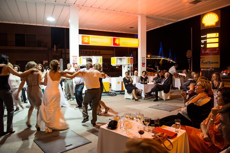 A wedding at a gas station in Greece.