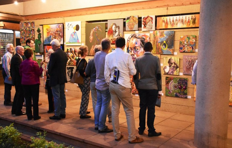 Visitors view art at the annual Kenya Museum Society Affordable Art Show