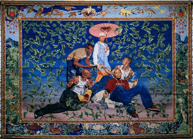 The RESPECT exhibit at OCMA features hip-hop art like this tapestry by renowned artist, Kehinde Wiley