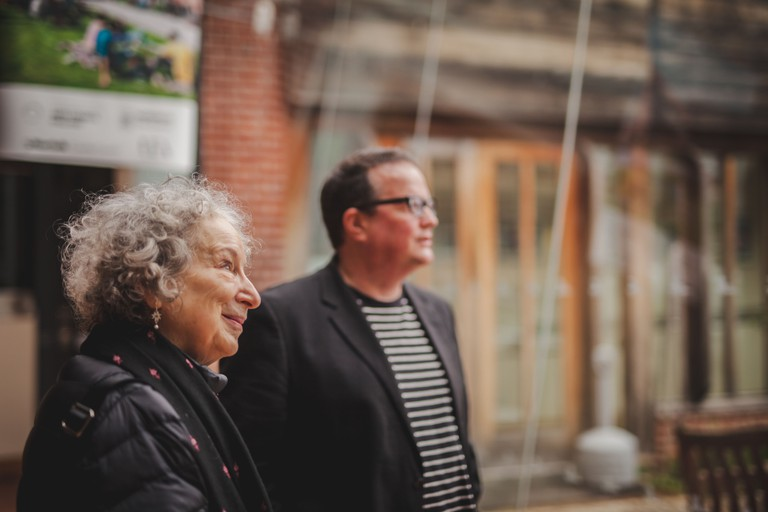 Margaret Atwood, Patron of the National Centre for Writing, touring Dragon Hall with Chris Gribble, Chief Executive of NCW (c) Thom Law - 2