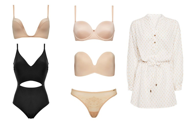Body-conscious lingerie for plunging necklines and cut-out swimwear show skin