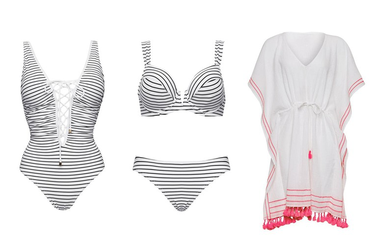 Nautical-striped swimwear and kaftan