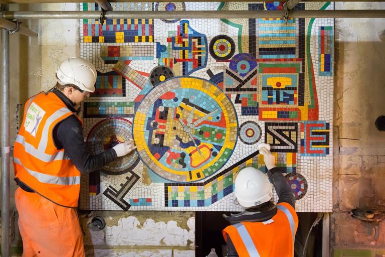 Paolozzi restoration at Tottenham Court Road station, 2016