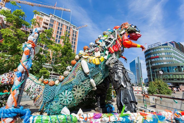Plastozilla is made completely out of plastic litter