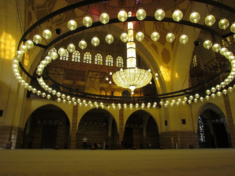 Plush interior of the Al Fateh Grand Mosque in Juffair