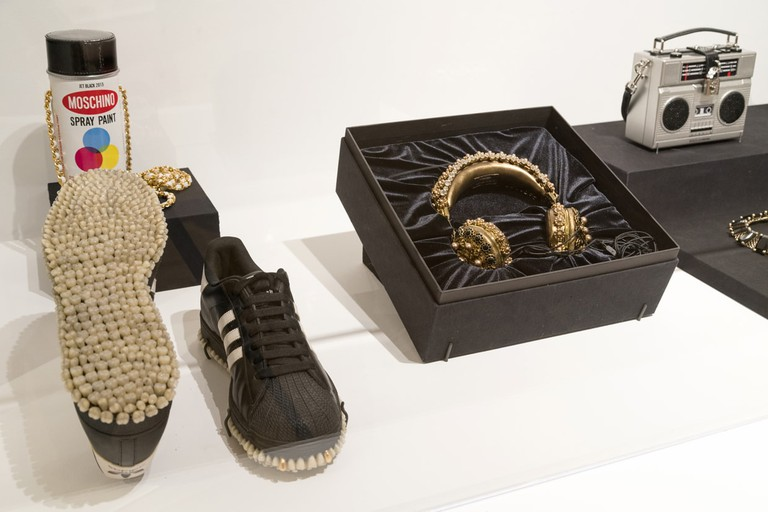 See unique hip-hop fashion wear at the RESPECT exhibit like shoes with teeth on the bottom