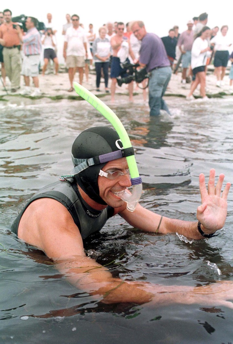 Ben Lecomte begins his attempt to swim across the Atlantic ocean from Cape Cod, America in 1998