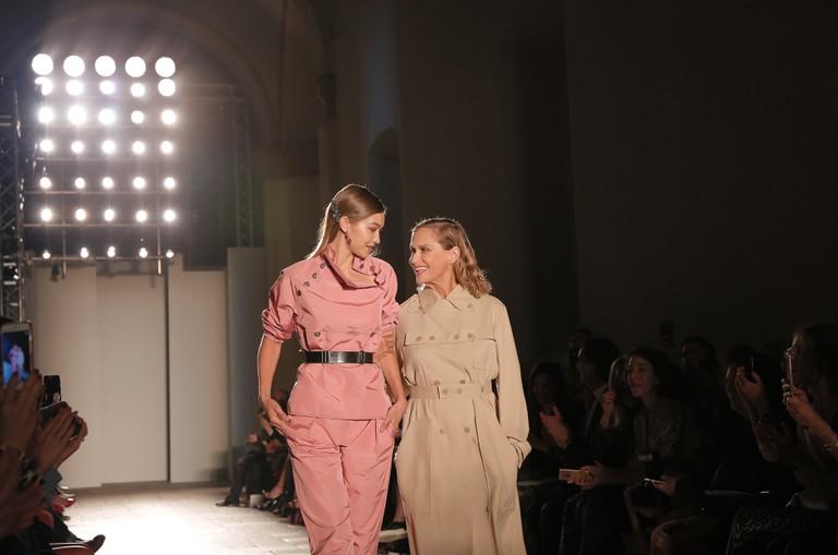 Gigi Hadid and Lauren Hutton on the catwalk Bottega Veneta show, spring/summer 2017, Milan Fashion Week
