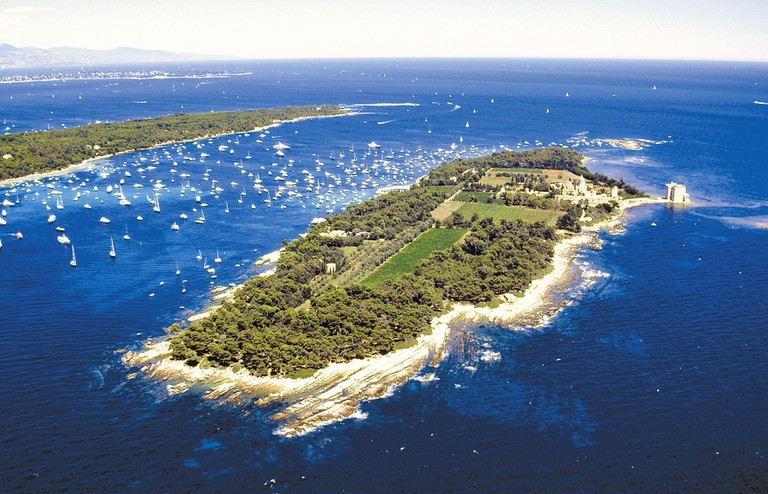 Aerial view of Ile Ste Marguerite, Cote d'Azur, France |© Photo by REX / Shutterstock