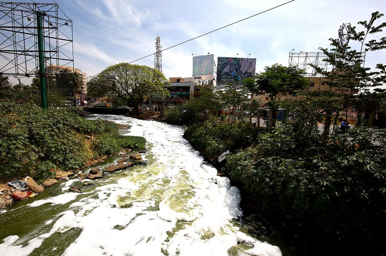 Bengaluru's 'Burning Lake', the Bellandur Lake, seen here in the outskirts of the city with large amounts of toxic foam