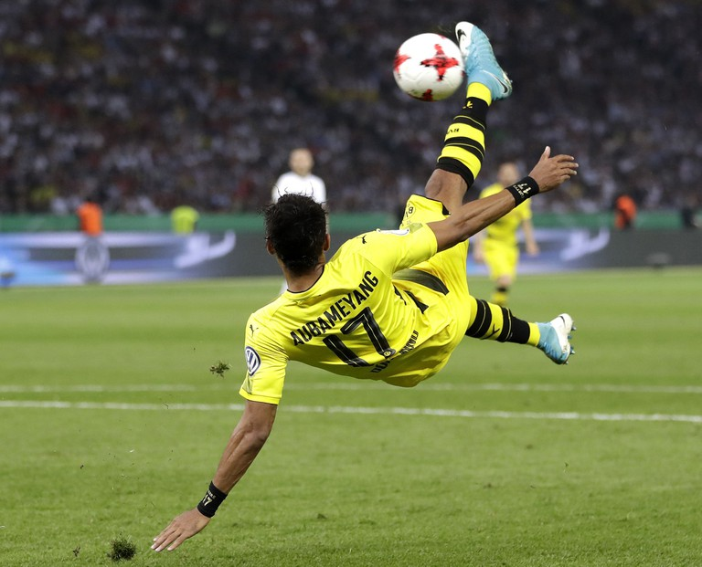 Dortmund's Pierre-Emerick Aubameyang attempts a bicycle kick during the cup final match between Dortmund and Frankfurt