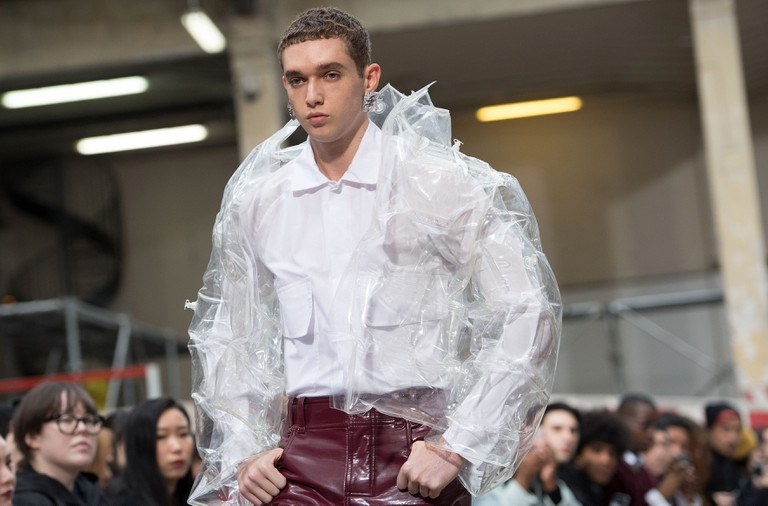 A model presents a creation from the Fall/Winter 2018/2019 Ready to Wear collection by Taiwanese designer Angus Chiang