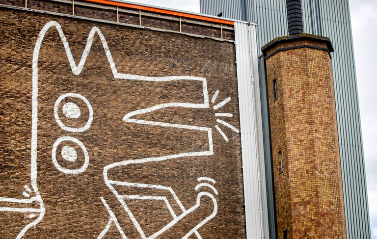 A view of the enormous mural painted by the US artist Keith Haring in 1986 on the wall of the former depot of the Stedelijk Museum Amsterdam, The Netherlands