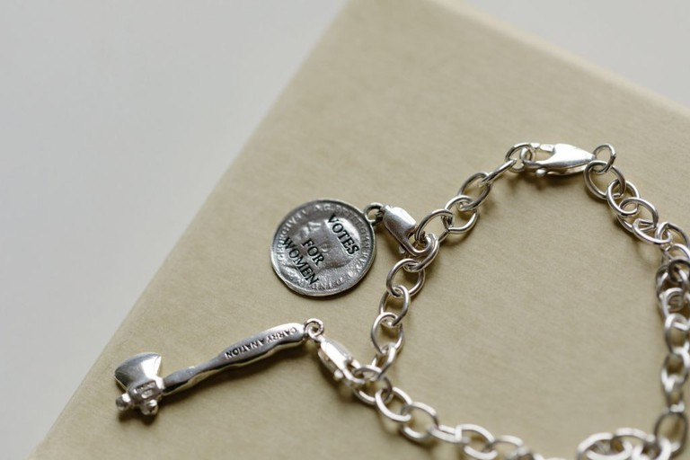Feminist Charm Bracelet And Charms Designed By Ruth Ewan And Joy BC For Glasgow Women's Library