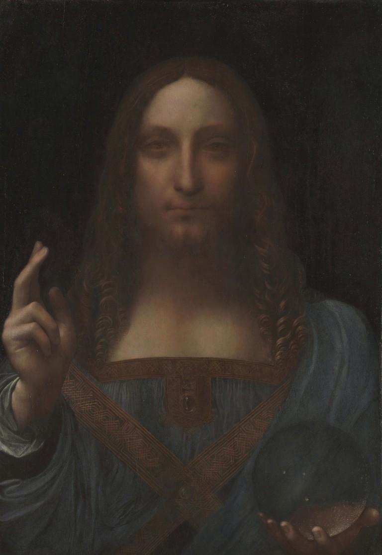 C2RMF60348 ; Étude demandée par Paris, Musée du Louvre, Collection particulière ; LEONARDO DA VINCI (1452-1519), Salvator Mundi ; Peinture sur bois © C2RMF Jean-Louis Bellec