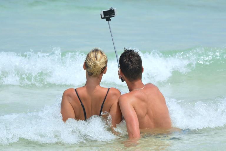 A selfie stick on the beach