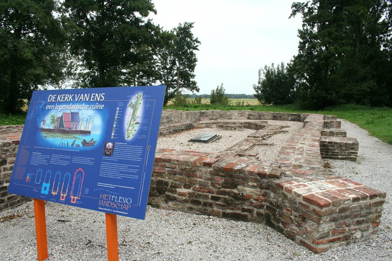 Remains of foundation of former church at the neighbourhood Emmeloord, Schokland