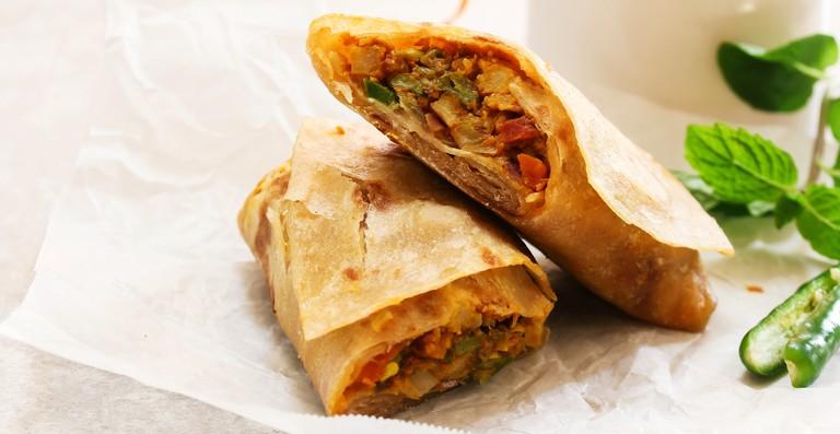 Homemade Indian veggie Kathi Roll.