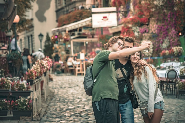 Tourists posing for a selfie, Belgrade