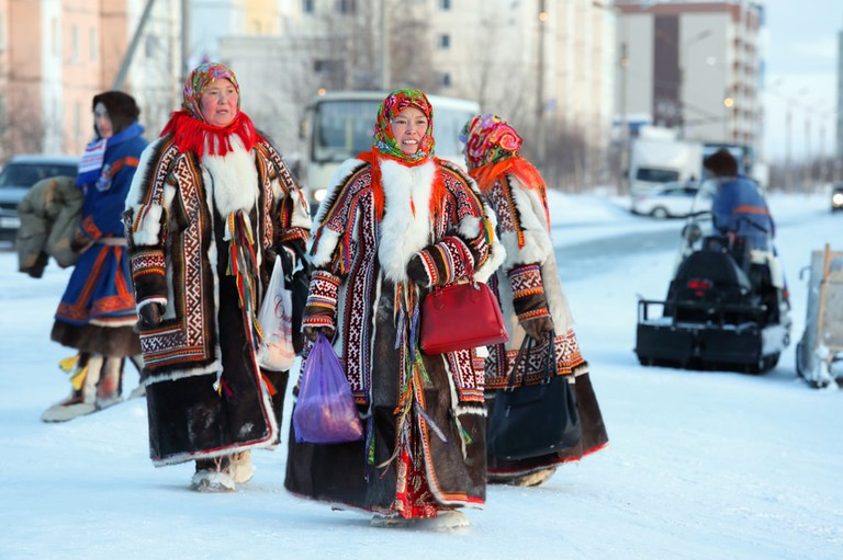 Nenets women in bright traditional fur garments
