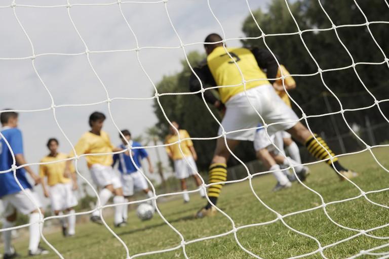 Striker preparing to shoot for goal
