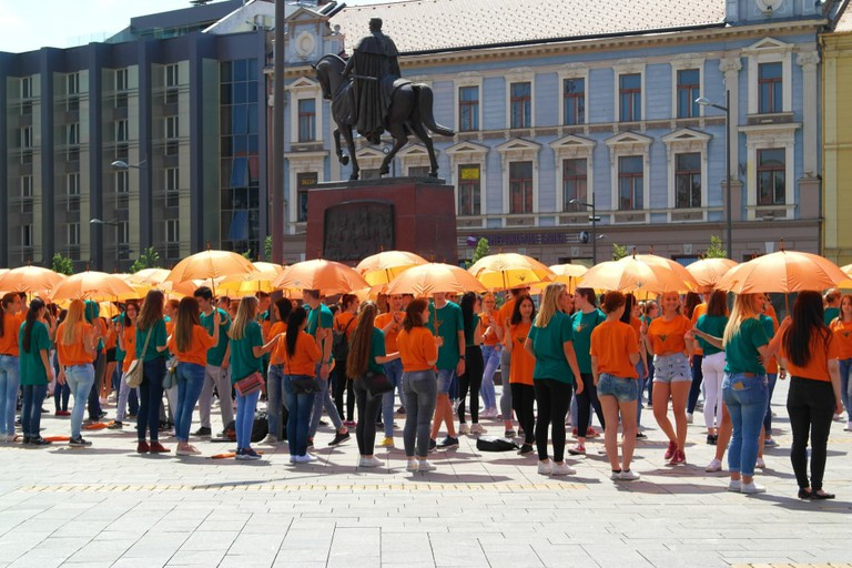 """High school graduates perform traditional Dance on the Square of Liberty in Zrenjanin, which is also known as """"European Quadrille Dance Festival"""""""
