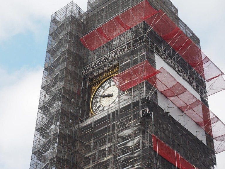 Big Ben conservation works at the Houses of Parliament aka Westminster Palace in London, UK