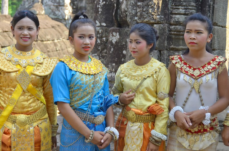 Young women in national costume in Angkor Wat, Cambodia
