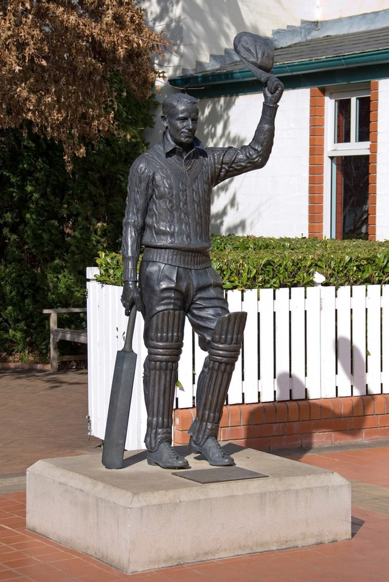 Statue of Sir Donald Bradman, outside Bradman Museum, Bowral, New South Wales, Australia