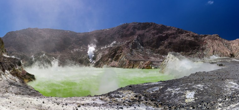 Volcanic Sulfur Crater Lake, Whakarri Island in the Bay of Plenty, New Zealand