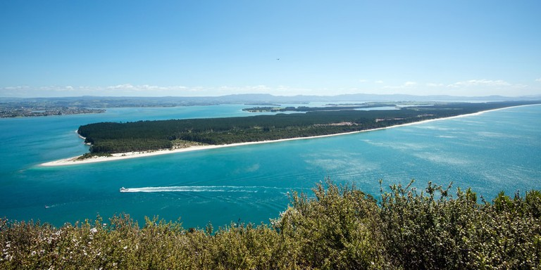 Matakana Island seen from the Mount Maunganui, New Zeland