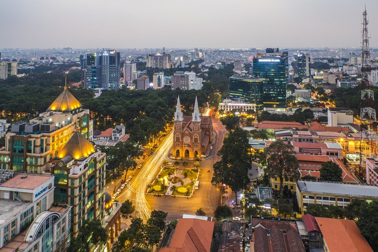 Aerial view of Saigon Notre-Dame Cathedral