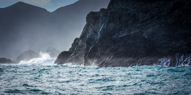 Waves on cliffs, D'Urville Island, Tasman Bay, New Zealand