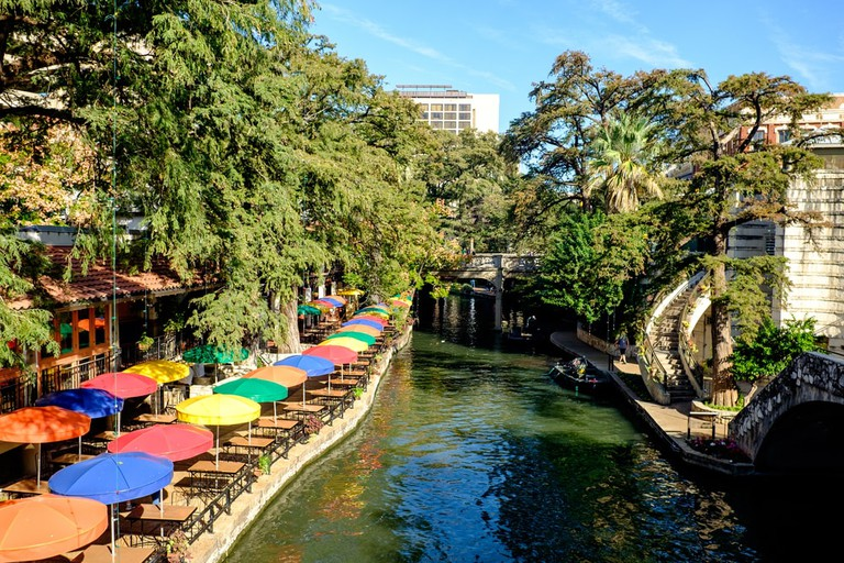 View of the famous River Walk in San Antonio, Texas