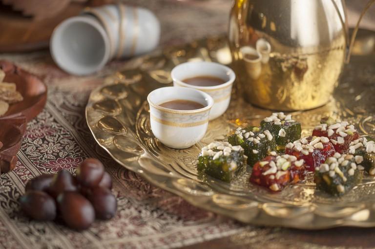 Traditional halwa with Arabic gahwa
