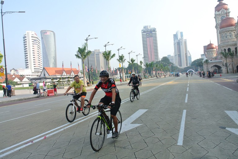 Residents enjoy leisure activities on Kuala Lumpur's main street on a car-free Sunday