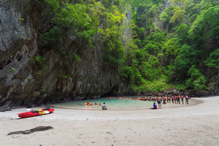 The beach inside the Emerald Cave, Thailand