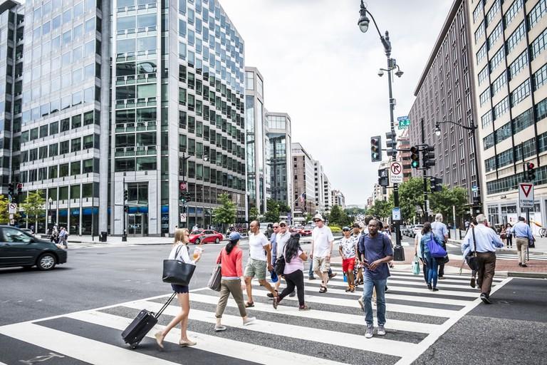 Pedestrian crossing in downtown Washington DC