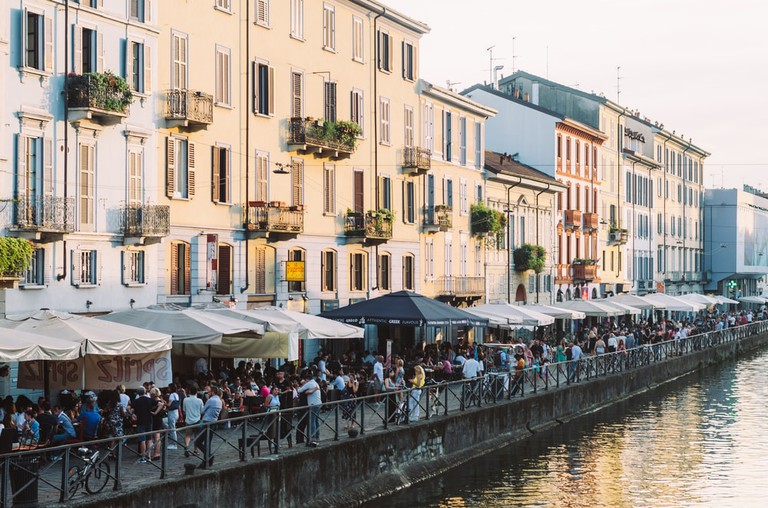 Aperitivo hour on the Navigli, Milan