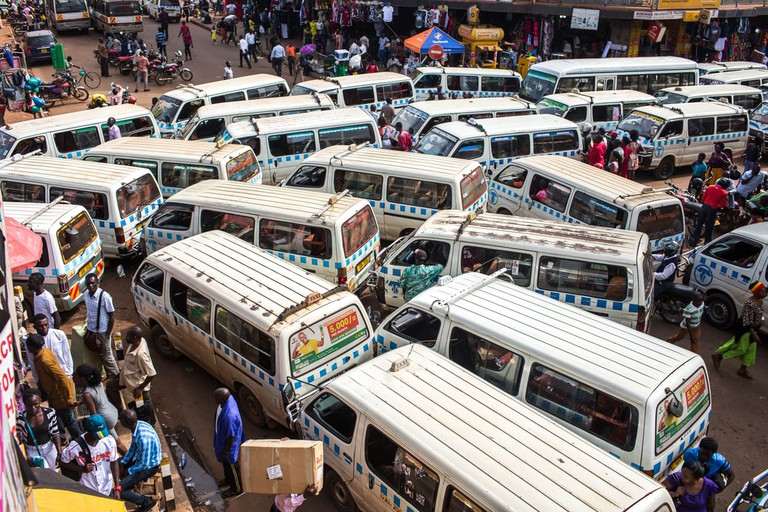 The entrance of the taxi station in Kampala