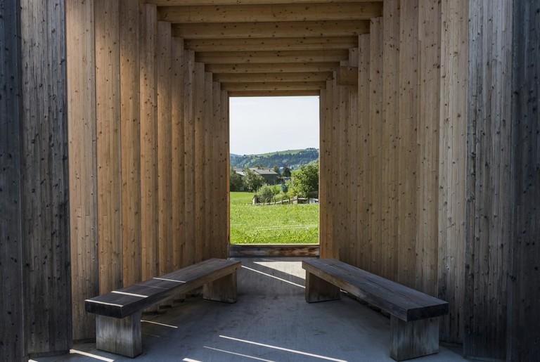 Busstop by architect Bus Stop Bregenzerwald, Amateur Architecture Studio, Krumbach, Bregenzer Wald, Austria