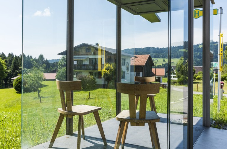 Busstop by architect Smiljan Radic, Krumbach, Bregenzer Wald, Austria